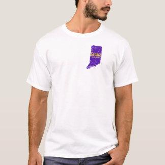 青いエアブラシインディアナが付いている白いTシャツ Tシャツ