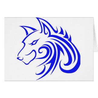 青いオオカミの頭部 グリーティングカード