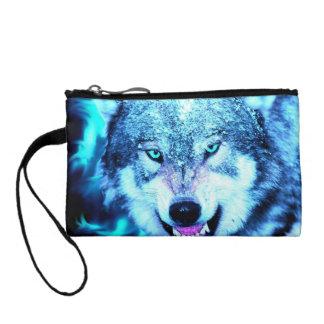 青いオオカミの顔 コインパース