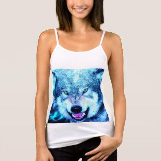 青いオオカミの顔 タンクトップ