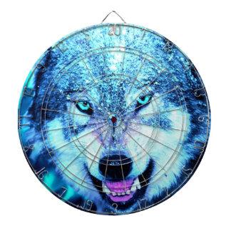 青いオオカミの顔 ダーツボード