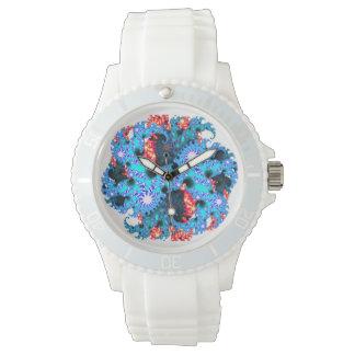 青いオレンジフラクタルの腕時計 腕時計