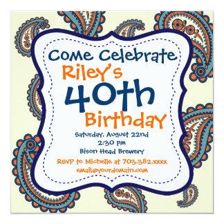 青いオレンジペイズリーの第40誕生日のパーティの招待状 13.3 スクエアインビテーションカード