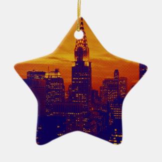 青いオレンジポップアートニューヨークシティ セラミックオーナメント