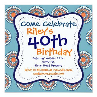 青いオレンジ柑橘類の第40誕生日のパーティの招待状 カード