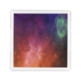 青いオレンジ水彩画の宇宙の宇宙星の星雲 アクリルトレー