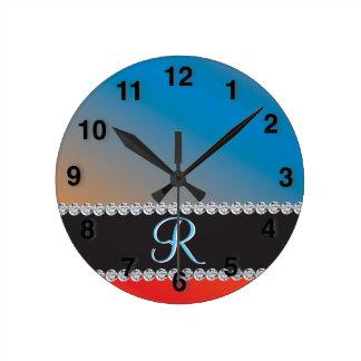 青いオレンジ黒ダイヤ3dのモノグラムのイニシャル ラウンド壁時計