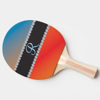 青いオレンジ黒ダイヤ3dのモノグラムのイニシャル 卓球ラケット