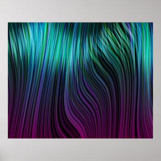青いオーガニックな芸術の溶解したプラスチック縦の繊維 ポスター