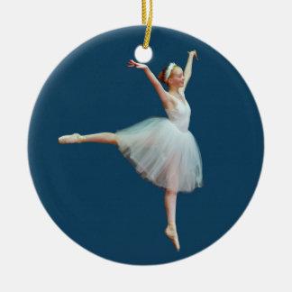 青いオーナメントのバレリーナの踊り セラミックオーナメント