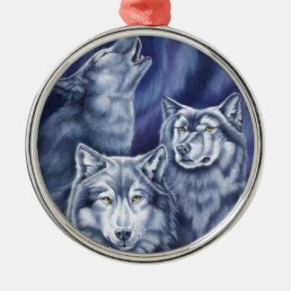 青いオーロラのオオカミ メタルオーナメント