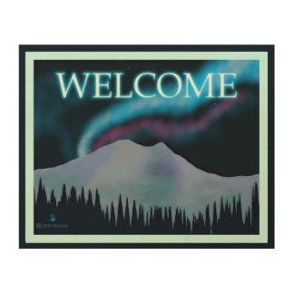 青いオーロラ-歓迎 ウッドウォールアート