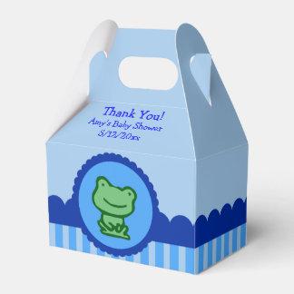 青いカエルのベビーシャワーの好意箱 フェイバーボックス