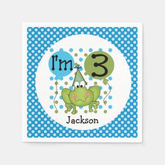 青いカエルの第3誕生日の紙ナプキン スタンダードカクテルナプキン