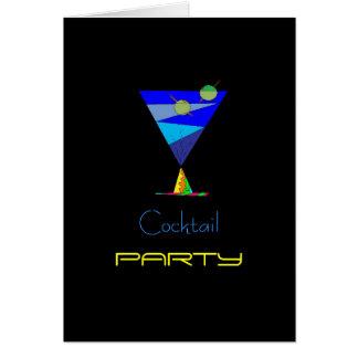 青いカクテルのパーティの招待状カード カード
