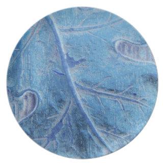 青いカシの葉のディナー用大皿 プレート