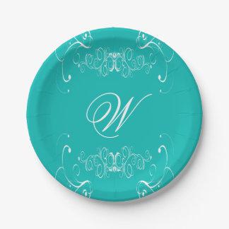 青いカスタムのイニシャルの紙皿の結婚 ペーパープレート