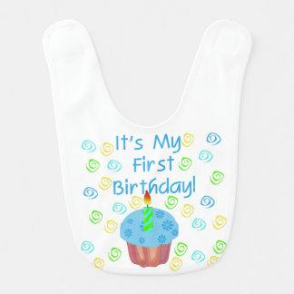 青いカップケーキの第1誕生日のよだれかけ ベビービブ