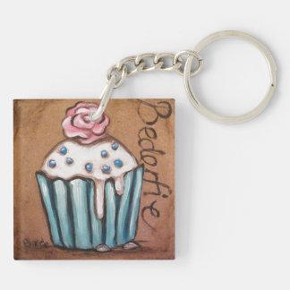 青いカップケーキの鍵鎖 キーホルダー