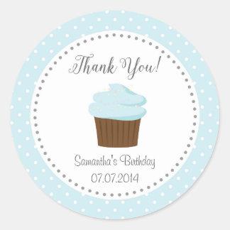 青いカップケーキはステッカー感謝していしています ラウンドシール