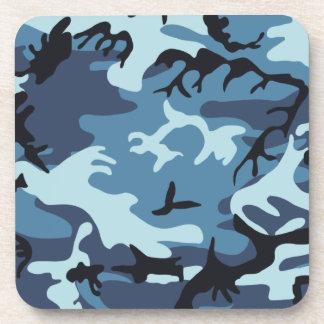 青いカムフラージュのコルクのコースター コースター