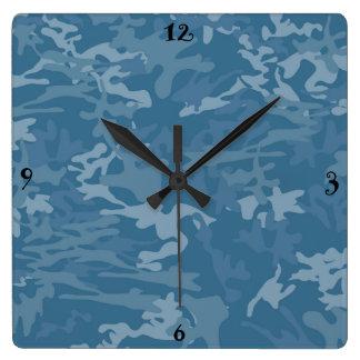 青いカムフラージュ/迷彩柄の柱時計 壁時計