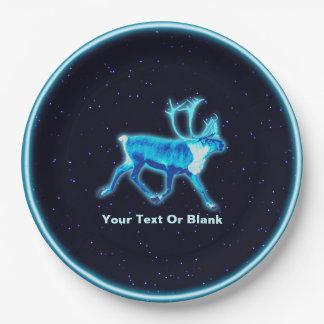 青いカリブー(トナカイ) ペーパープレート