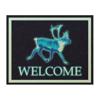 青いカリブー(トナカイ) -歓迎 ウッドウォールアート