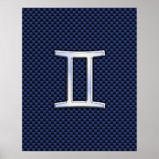 青いカーボン繊維のスタイルのジェミニ(占星術の)十二宮図の印 ポスター