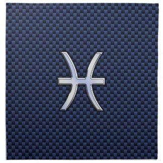 青いカーボン繊維のプリントの魚類の(占星術の)十二宮図 ナプキンクロス