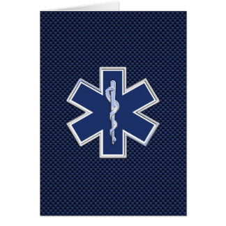 青いカーボン繊維の生命救急医療隊員EMSの星 カード
