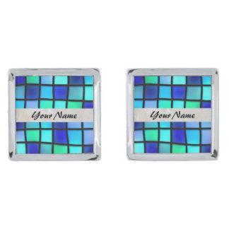 青いガラスタイルの正方形 銀色 カフリンク