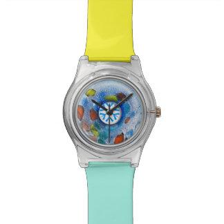 青いガラスドーナツビードの調節可能な腕時計 腕時計