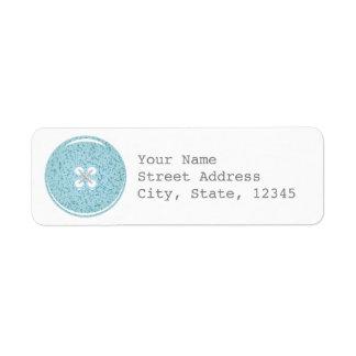 青いガラスボタンの宛名ラベル ラベル