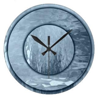 青いガラス効果の柱時計 ラージ壁時計
