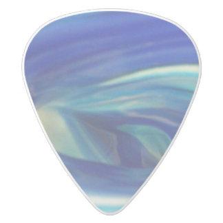 青いガラス渦巻 ホワイトデルリン ギターピック