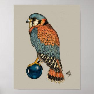 青いガラス玉のアメリカのKestrel ポスター