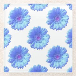 青いガーベラのデイジー ガラスコースター