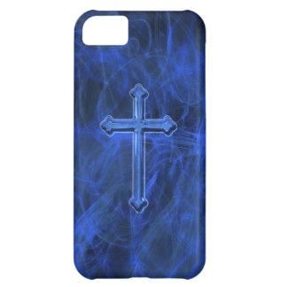 青いキリスト教の十字 iPhone5Cケース