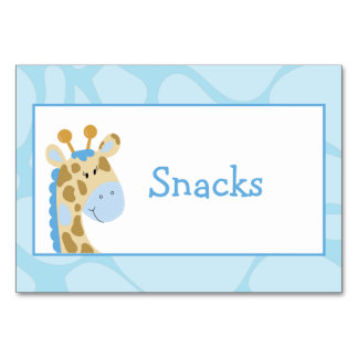 青いキリンのカスタムなビュッフェのラベルカード カード