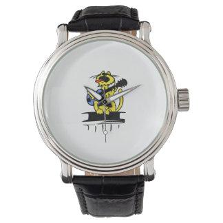 青いギターおよびsinging.pngを遊んでいる黄色い猫 腕時計