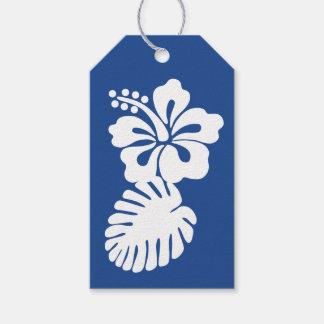青いギフトのラベルの熱帯ハイビスカス ギフトタグ