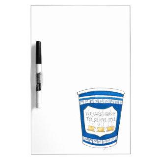 青いギリシャのコーヒーカップ板に役立つこと幸せ ホワイトボード