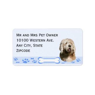 青いギンガムのカワウソ猟犬 ラベル