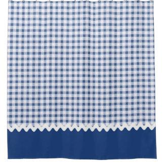 青いギンガムのシャワー・カーテン シャワーカーテン