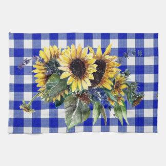 青いギンガムのヒマワリの花束 キッチンタオル