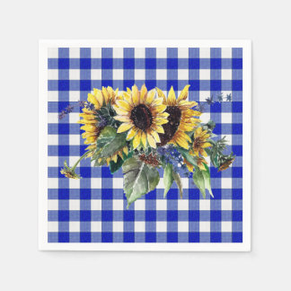 青いギンガムのヒマワリの花束 スタンダードカクテルナプキン