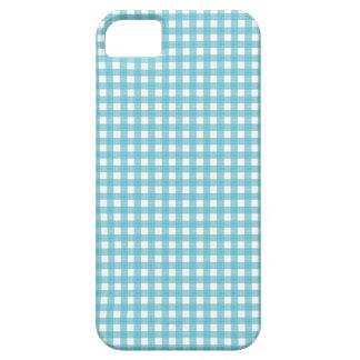 青いギンガムの格子縞の点検パターンiphone 5Sの箱 iPhone 5 ケース