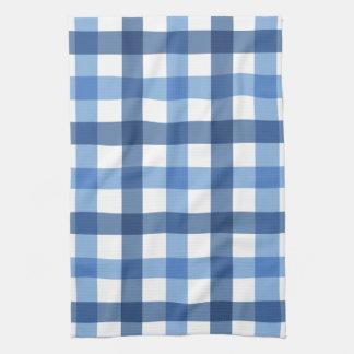 青いギンガムの点検のふきん キッチンタオル