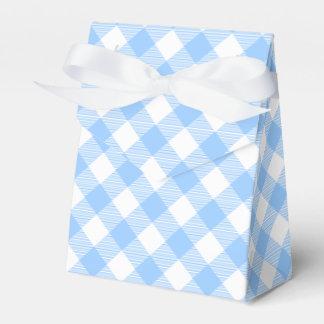 青いギンガムチェック模様のパターン好意箱 フェイバーボックス